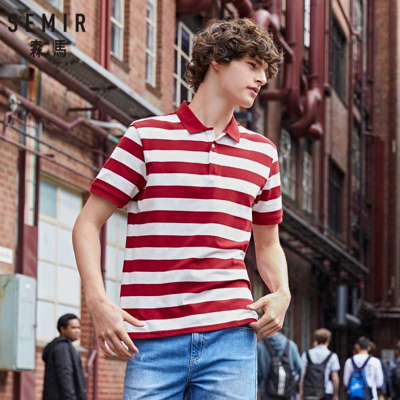 SEMIR 남자 폴로 칼라 짧은 소매 셔츠 2019 여름 새로운 한국어 줄무늬 바다 영혼 폴로 셔츠 학생 조수