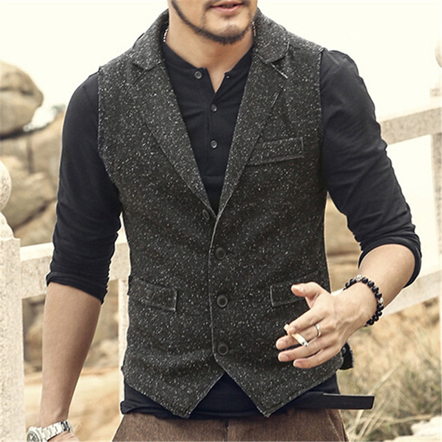Vintage Fashion Men Autumn And Winter Suit Vest Business Men Brand Clothing Cotton Blends Men Waistcoat A2802