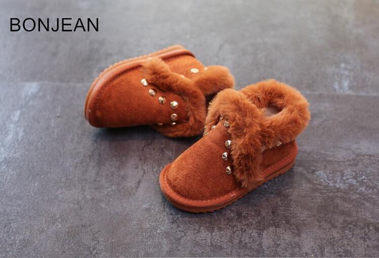Children s snow boots 2018 winter new Korean girls boots cotton shoes baby shoes rivet boys