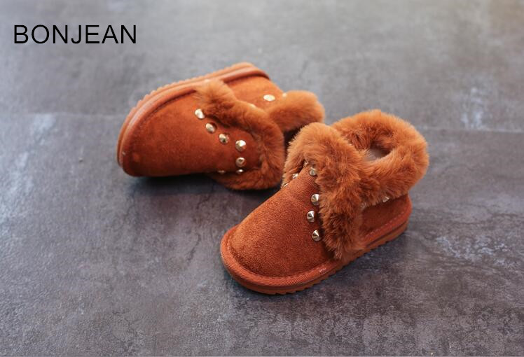 Children s snow boots 2018 winter new Korean girls boots cotton shoes baby shoes rivet boys