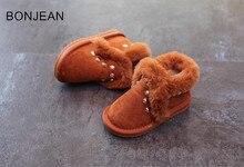 Детские зимние сапоги 2018 Зимние Новые корейские девушки сапоги туфли из хлопка детская обувь заклепки мальчиков Сапоги 3025 сапоги