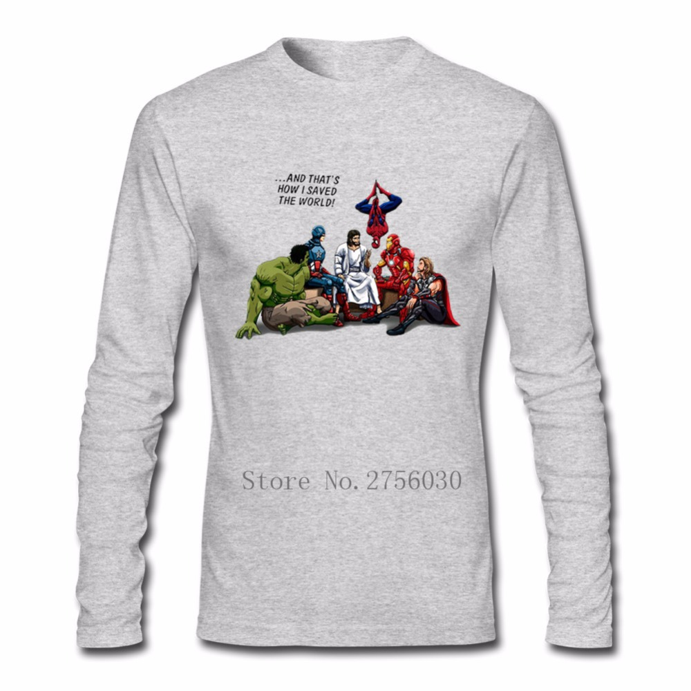 And Thats How I Saved The World Jesus mENS T-Shirt Men Black Long Sleeve Clothing Customised T Shirt Adult Size XS XXL