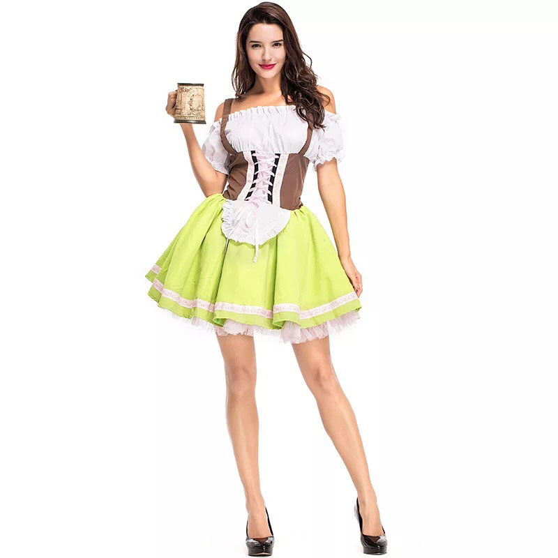 Adult Women Oktoberfest Wench Costume Bavaria Fancy Short Green Strap Dress Dirndl Clothing Cold Shoulder Outfit For Lady M-3XL
