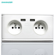 купить Wall Sockets USB Wall Power Socket Dual EU French AC Sockets 16A Wall Outlet Dual USB Charging Ports PC Fire-Proof Panel дешево