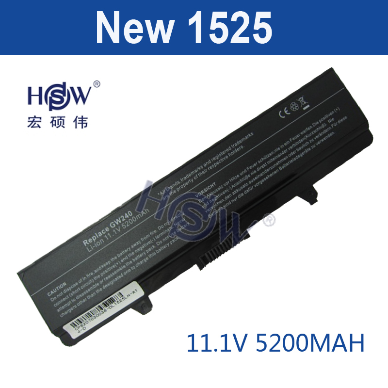 HSW 5200MAH Laptop Battery FOR Dell GW240 297 M911G RN873 RU586 XR693 for Dell Inspiron 1525 1526 1545 notebook battery x284g