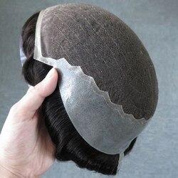 SimBeauty Q6 Basis Individuelles Herren Toupet Haarteil Menschliches Indisches Haar Ersatz System Prothese Perücken Für Männer