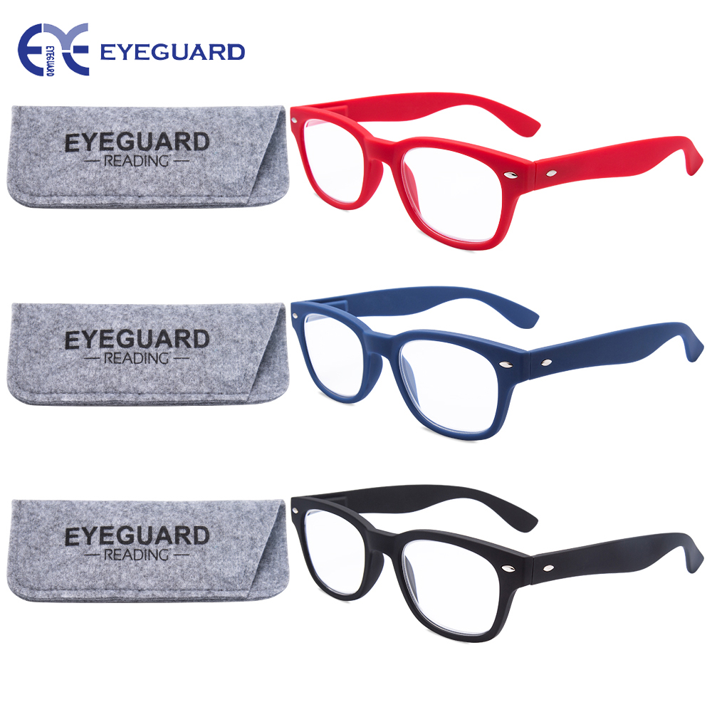 EYEGUARD Reading Glasses Rectangle Unisex Readers Spring Hinges Stylish Sturdy Frame 1.00 1.50 2.00 2.50 3.00 3.50 3 Pairs/Pack