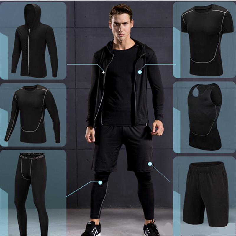 2017 New High Quality Men Sports Running Sets Quick Dry Basketball Jogging Suits Compression Sports Gym Fitness Training Clothes