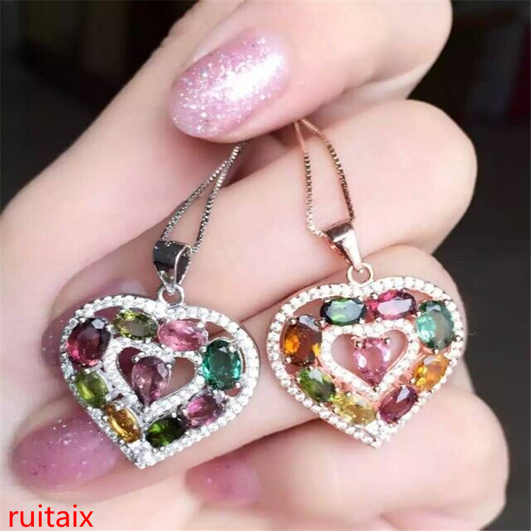 KJJEAXCMY boutique jewels S925 silver natural tourmaline heart pendant set jewelry wholesale gift box necklace.