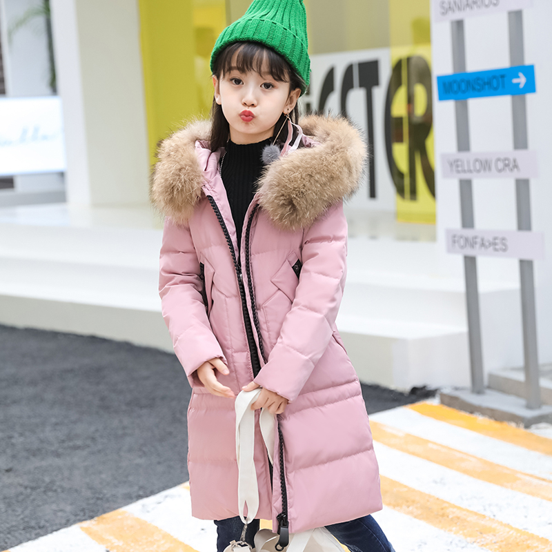2017 girls down jacket for girl coat large fur hooded collar long children outerwear parka coats overcoat -10--30 degree jackets winter coat girl real fur collar hooded kids overcoat children outerwear winter jackets coats for girls thick long parka 5 13 y