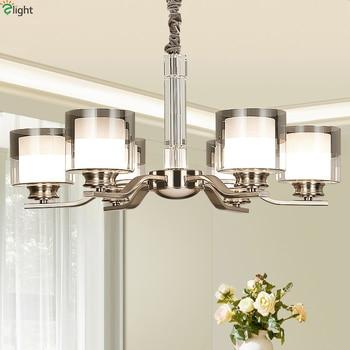 Moderno níquel Metal Led lámparas de iluminación de la Sala cristal ...