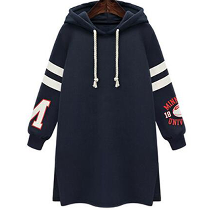 2017 Tracksuit Style Dress Women Slit Hooded Strappy Midi Pattern Loose With letter and Number Large Size VestidoED59