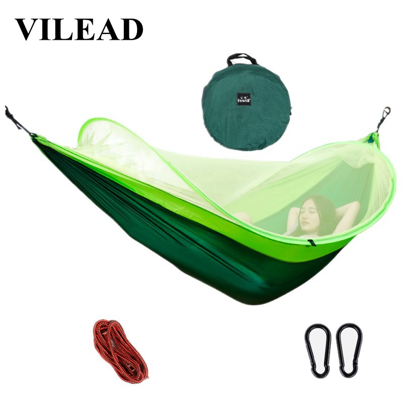 VILEAD Automatic unfolding Hammock Mosquito Stable Ultralight Portable Parachute Outdoor Camping Cot Sleeping Bed 260*150 cm-in Camping Cots from Sports & Entertainment