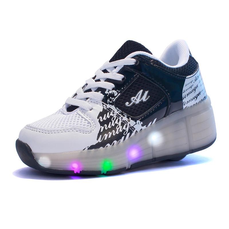 Eur28-40// 2018 Heelys Boy Roller Skate Sneakers Kids Shoes with Wheel Shoes Black Chaussure LED Negro Zapatillas Con Ruedas