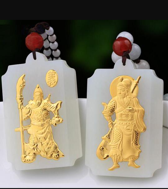 Natural White HeTian Yu + Full Gold Inlaid Carved Sword GuanGong Style Lucky Pendant Necklace + Certificate Fashion Jewelry цена