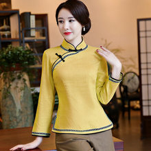 Vintage Chinese Women Cotton Linen Shirt Handmade Button Blouse Classic Long Sleeve Tang Clothes Top Flower Size S M L XL XXL(China)