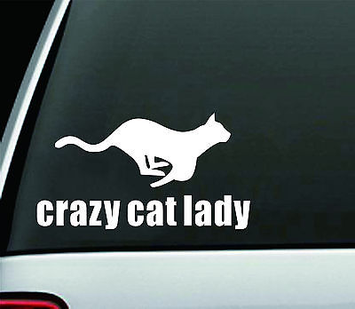 NEW MATTE CRAZY CAT LADY PET FUNNY DECAL STICKER ART CAR WINDOW WALL DECOR