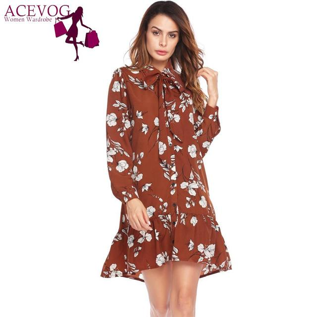 0d791251945 ACEVOG Vintage Style Women Dress Long Sleeve Floral DRess Ruffled Button  Down Casual Women Shirt Dress Party Dress