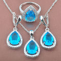 Water Drop Blue  Zirconia Women's Stamped    925 Sterling Jewelry Sets Necklace Pendant Earrings Rings Free Shipping TS007