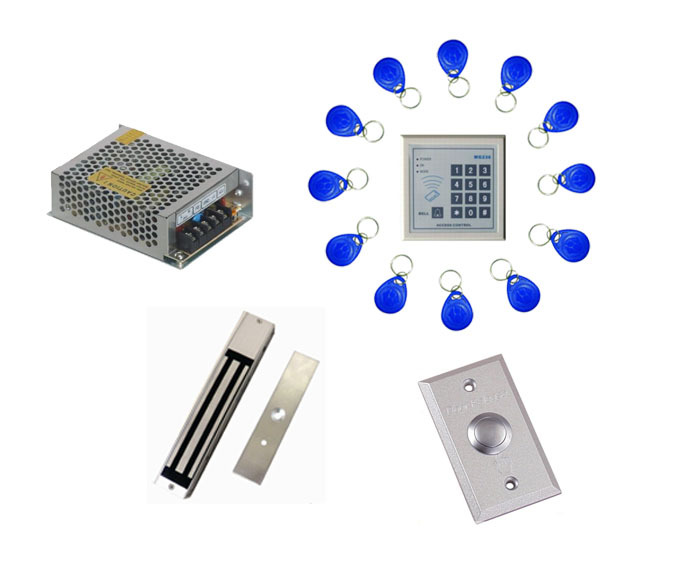 Free ship by DHL ,access control kit ,one EM keypad access control+power+magnetic lock +exit button+free 10 em card,sn:em-003 free ship by dhl access control kit waterproof access control switch power electric mute lock exit button 10 em cards sn em t10