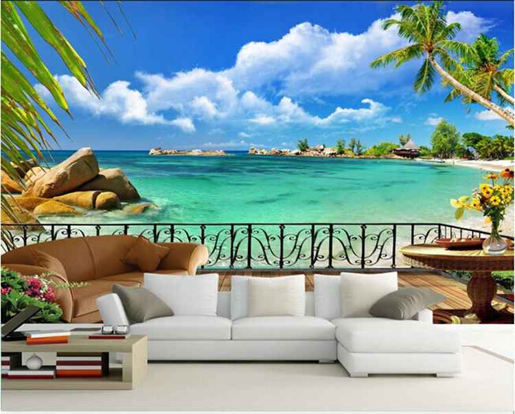 custom mural Blue sky white clouds beach 3D wallpaper bedroom living room hotel restaurant coffee house nature landscape mural blue earth cosmic sky zenith living room ceiling murals 3d wallpaper the living room bedroom study paper 3d wallpaper