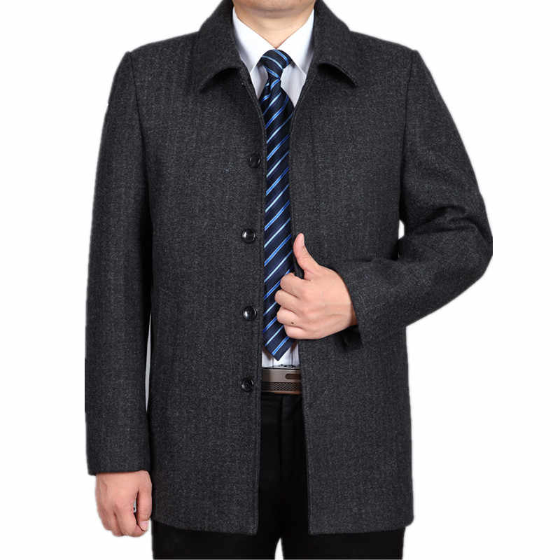 Tcyeek/зимние мужские шерстяные куртки, пальто с воротником-стойкой, мужское шерстяное пальто среднего возраста, шерсть и смеси, повседневное Мужское пальто HH142