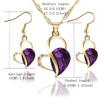 18K Gold Luxury Crystal Necklace/Earrings Jewelry Set 5