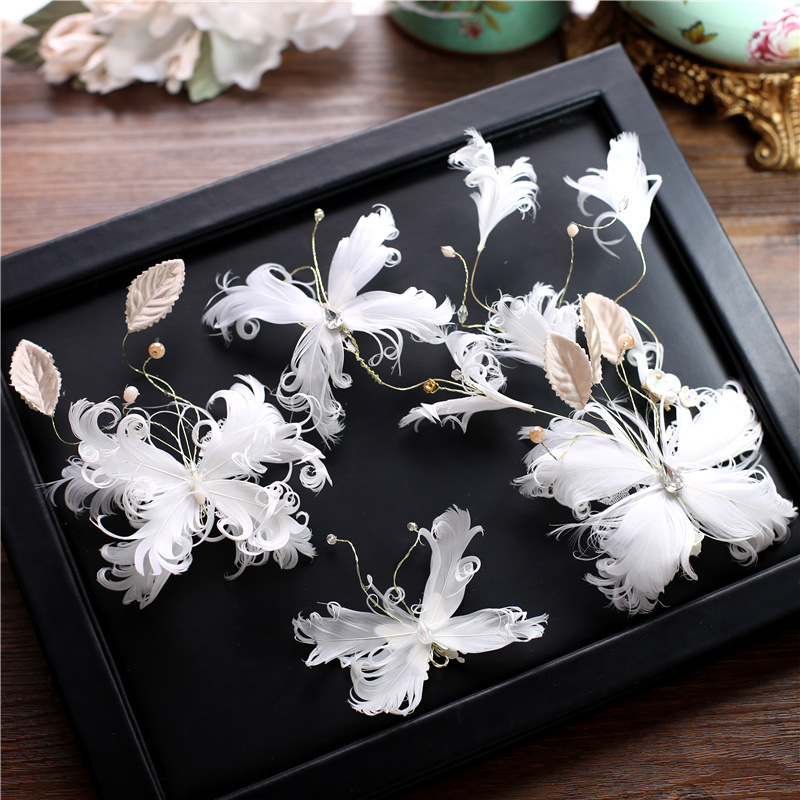 Super fairy white feather butterfly hairclip bride hair ornaments suit sweet flower handmade headdress wedding hair accessories цена 2017