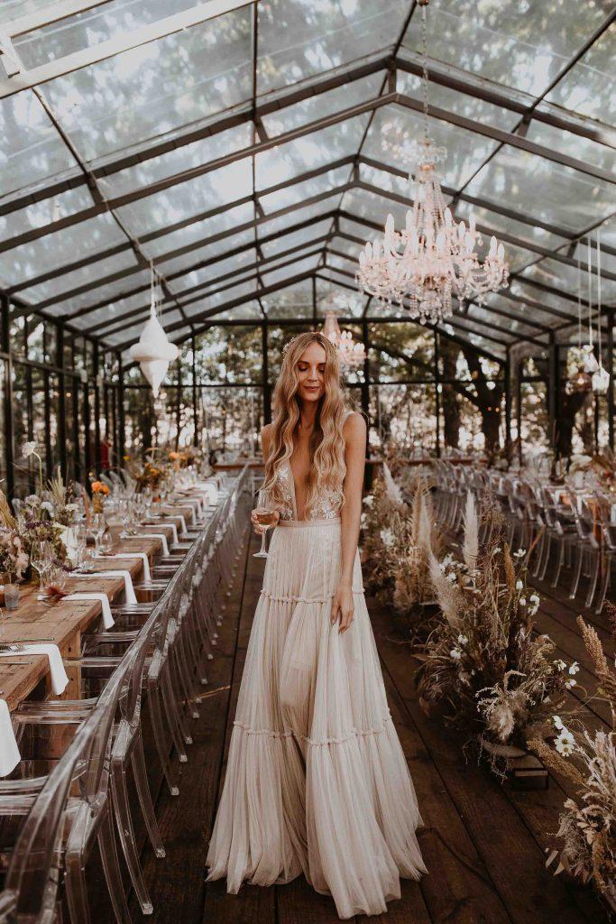 Champagne Wedding Dresses 2019 Deep V-Neck Boho Dreamy Bridal Gowns Sexy Beach Vestido De Noiva robe de mariee wedding dress