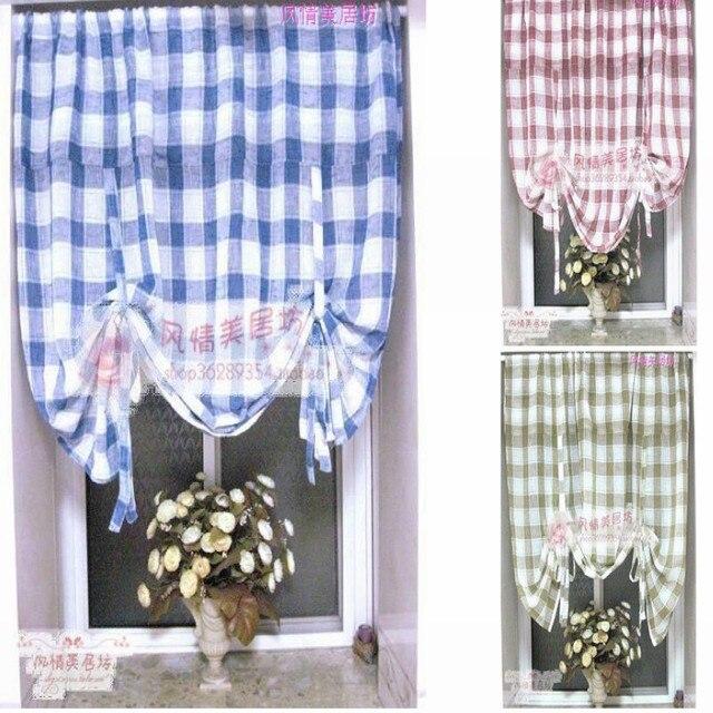 Morden Fashion Crystal Hemp Balloon Curtain Blue Red Plaid Home Decor Curtain For Living Room