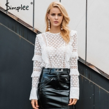 Simplee Ruffle lace blouse shirt women Hollow out floral white blouse female tops Elegant fashion chiffon blouse autumn 2017(China)