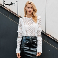 Simplee Ruffle Lace Blouse Shirt Women Hollow Out Floral White Blouse Female Tops Elegant Fashion Chiffon