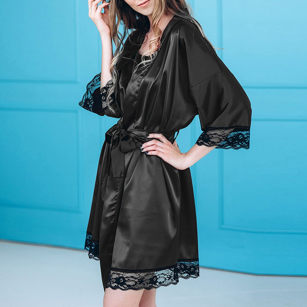 Women Sexy Badjas Black Silk Satin Kimono Robe Lace Lingerie Bodydoll Sleepwear Belt Bath Robe Lady Nightwear Plus Size Bathrobe