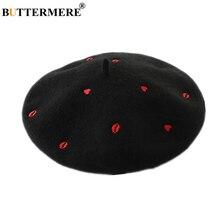 白ウールベレー女性黒帽子赤ハートリップ刺繍ハイファッションレディースフレンチベレーアーティストの帽子 BUTTERMERE