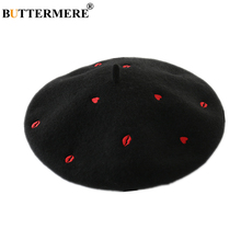 BUTTERMERE White Wool Beret Women Black Hat Red Heart Lip Embroidery High Fashion Ladies French Artist Hats for
