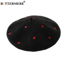 BUTTERMERE White Wool Beret Women Black Hat Red Heart Lip Embroidery High Fashion Ladies French Beret Artist Hats for Women(China)