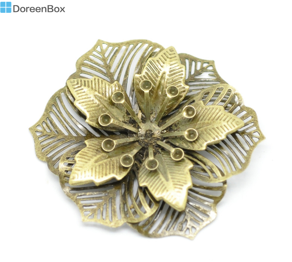 Doreen Box Lovely 10 Antique Bronze Filigree Flower Embellishments Findings 5.5x4.8cm(can hold SS10 rhinestone) (B18567) 8seasons 10 antique bronze filigree flower embellishments findings 5 5x4 8cm can hold ss10 rhinestone b18567