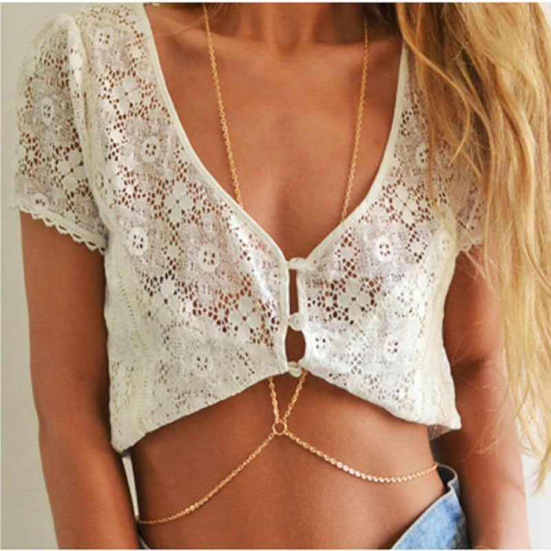 2018 New Hot Fashion simple one piece chain bikini body chain necklace female bodychain LST004