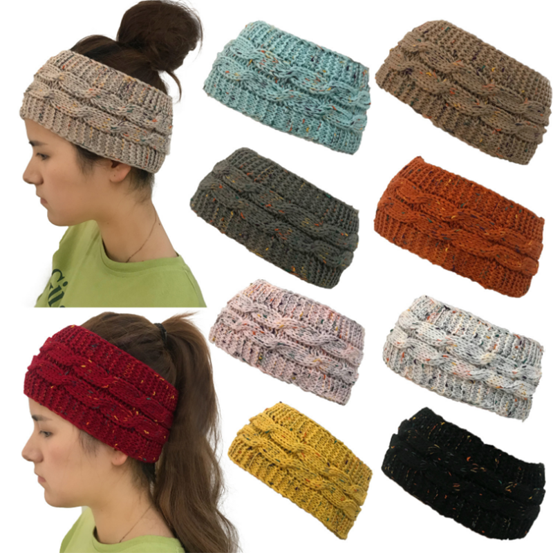 Woman Winter Stretch Colorful Empty Top Knit Hat Ponytail   Beanie     Skullies     Beanies   For Women Ponytail Cap Girl Hair Band Headwrap
