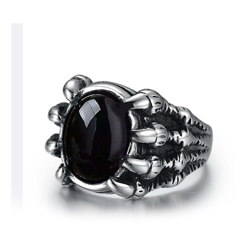Anillo de acero inoxidable de moda WAWFROK anillos de calavera de hombre para mujeres anillo de plata Popular Punk Red Stone Jewelry garra dedo 2