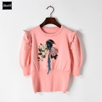 2018 New Sweater Female Pullovers Spring Ruffles Chic Floral Birds Embroidery Knit Sweaters Pullover Runway Designer