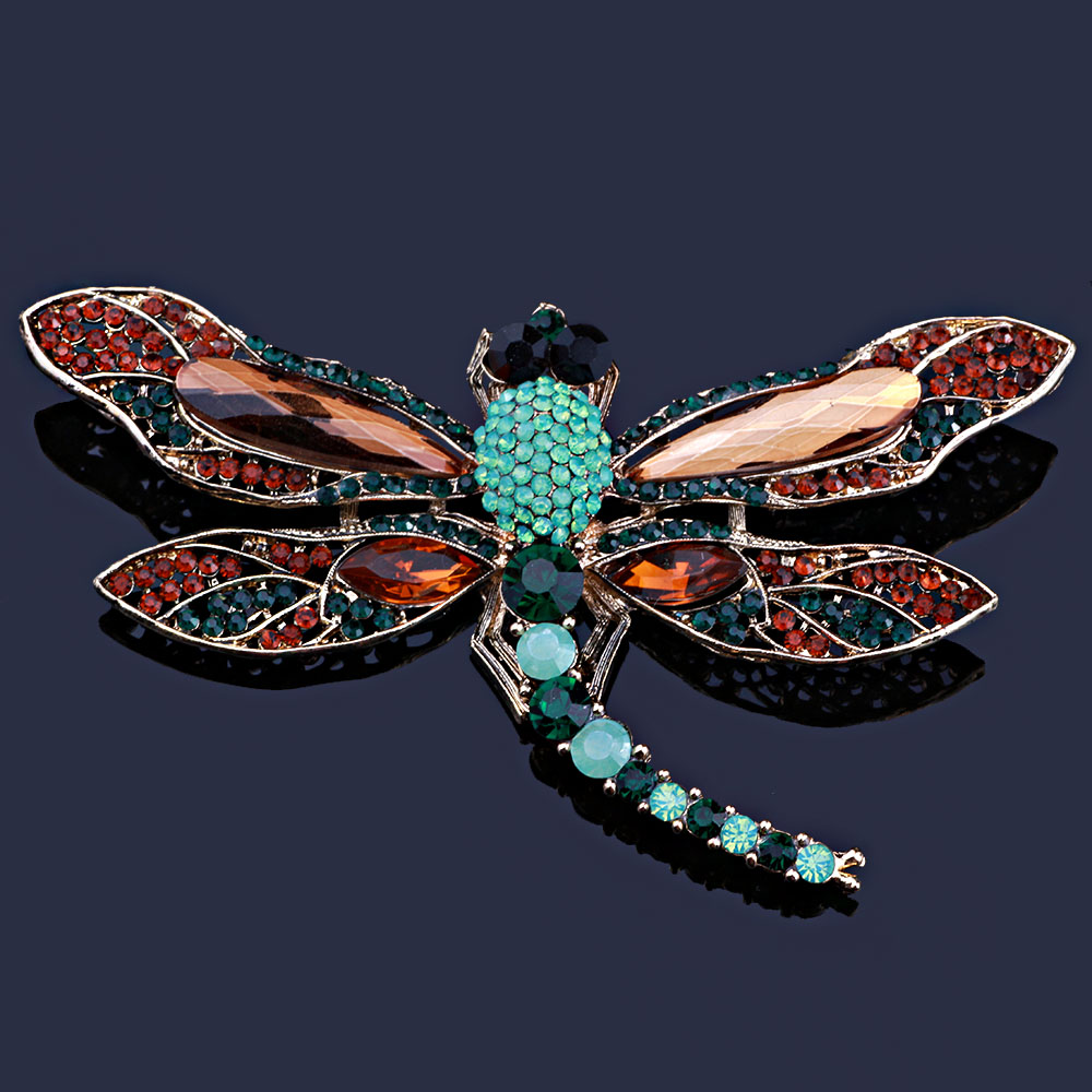 FARLENA Jewelry Vintage New Arrival Large dragonfly Art Nouveau Pendant Brooch Pin Rhine ...