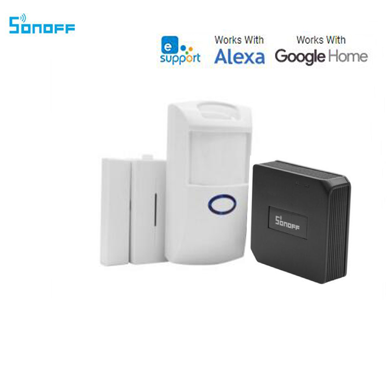 Interrupteur intelligent Itead Sonoff, convertisseur RF Bridge 433 wifi + capteur d'alarme de fenêtre de porte + capteur de mouvement du corps PIR2 Via Alexa, Google Home