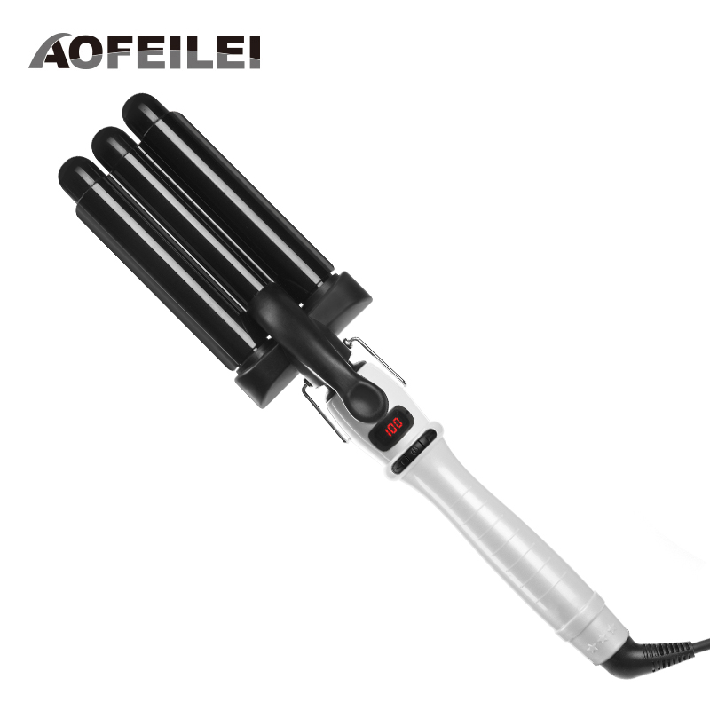 Electric Hair Comb Curling Iron Waver Roller Wand 110-220v Perm Ceramic Triple Barrels Deep Curler Wave Curly Styling Tools