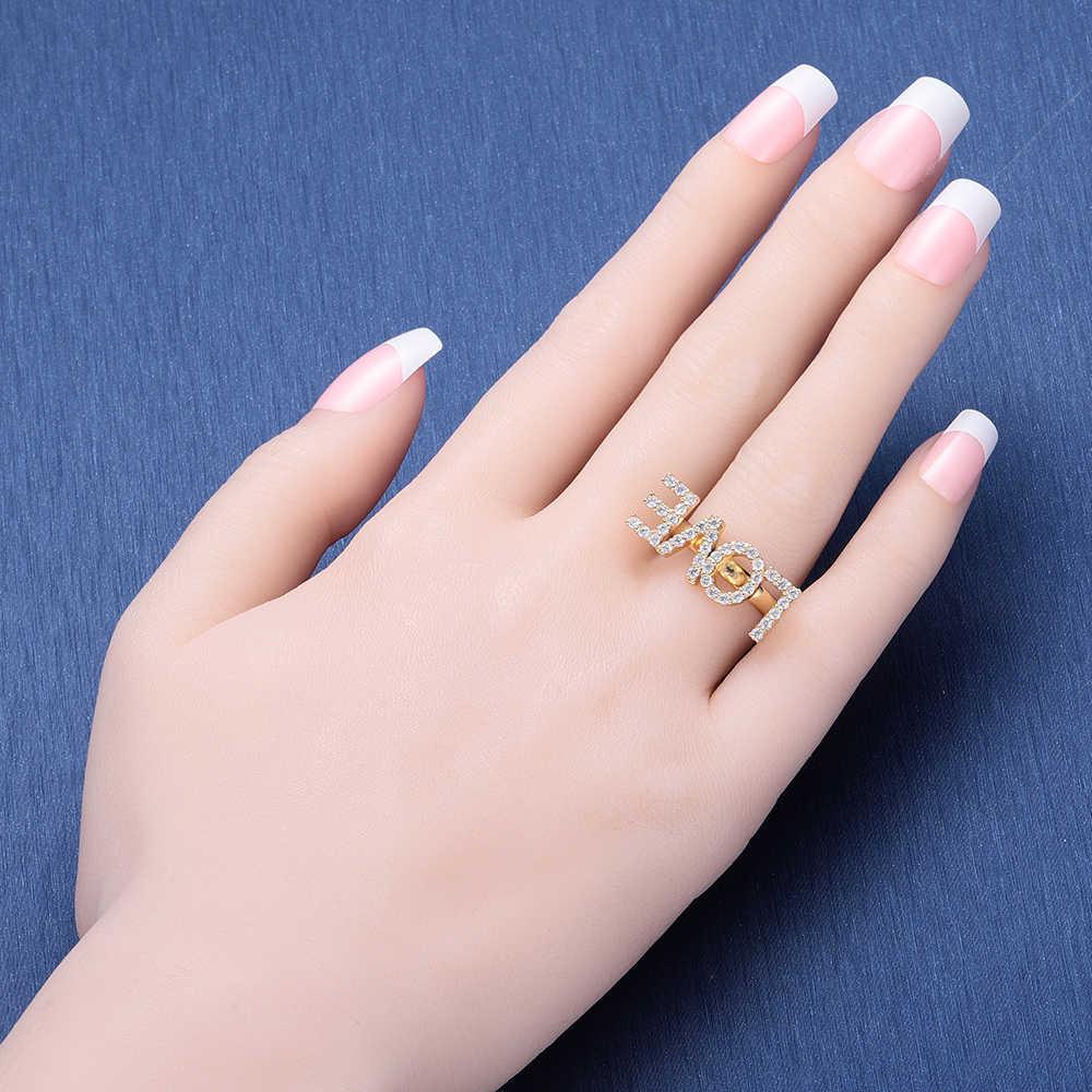 Duoying Zircon แหวนตัวอักษรตัวอักษรแหวนผู้หญิงแหวนเครื่องประดับ Gold สี