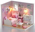 24th DIY Wooden Miniature Doll House Handcraft Model Kits --Girl's Bedroom with furnitures english instruction