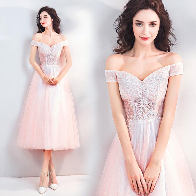 2018 new plus size women pregnant bridal wedding party dress boat neck lace  Sequined A-line sexy romantic short Bridesmaid dress 5e751f6dfcc4