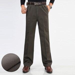 Image 2 - Inverno dos homens de lã engrossar calças moda masculina quente calças casuais lavar roupa dupla plissado algodão solto calças retas tamanho 46