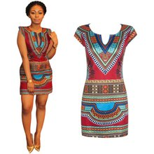 Women Summer Causal Sleeveless Dress Traditional African Print V-Neck Sheath Appointment Party Sundress New