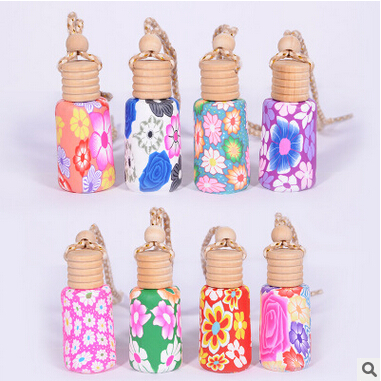 Image 5 - High Quality 12ML/15ML Mix Style Polymer Clay Car Perfume Hanging Bottle with Wooden Cork 100PCS/LOT-in Refillable Bottles from Beauty & Health